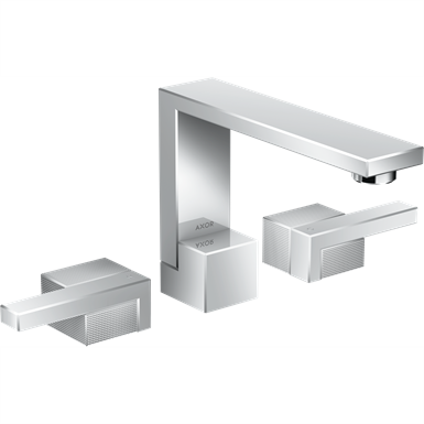 AXOR Edge 3-hole basin mixer 130 with push-open waste set - diamond cut 46051000