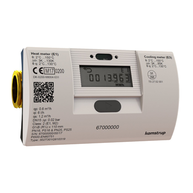 MULTICAL® 302, qp 1.5 m³/h, G1B (R¾) x 130 mm, heat meter, cooling meter or combined heat/cooling meter