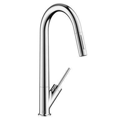 Axor Starck 2-Spray HighArc Kitchen Faucet, Pull-Down 10821001