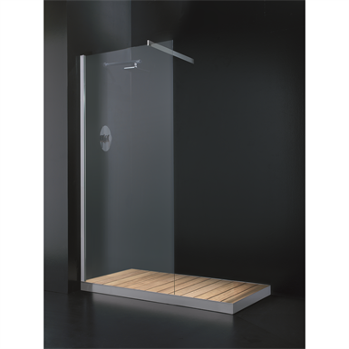 STEEL SHOWER TRAY WITH SOLID WOOD SLATS CONFIGURABLE STEEL OUT 80_ ON THE FLOOR  SHOWER
