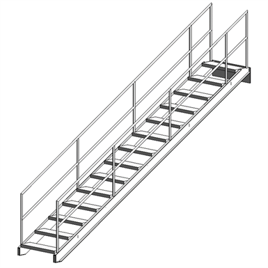 FIXED ALUMINUM INDUSTRIAL STAIRWAY WITH BAR GRATING TREADS