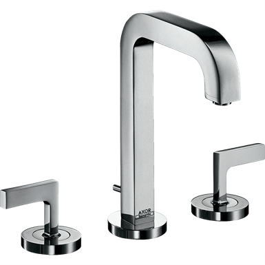 AXOR Citterio 3-hole basin mixer 170 with spout 140 mm, lever handles, escutcheons and pop-up waste set 39135000