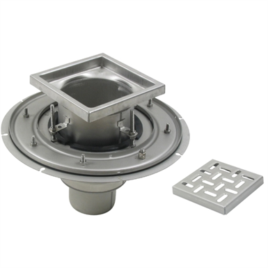 Adjustable Floor Drain with 8in. x 8in. Square Top, Deep Body - BFD-110