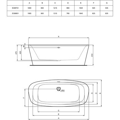 Dea Baignoire Ilot 190 X 90 Cm Ideal Standard Objets Bim
