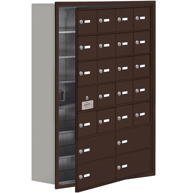 19100 Series Cell Phone Lockers-Recessed Mounted-7 Door High Units-8 Inch Deep Compartments