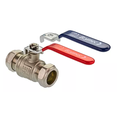 28mm Compression Lever Ball Valves 15mm Red or Blue Handle Full bore 22mm