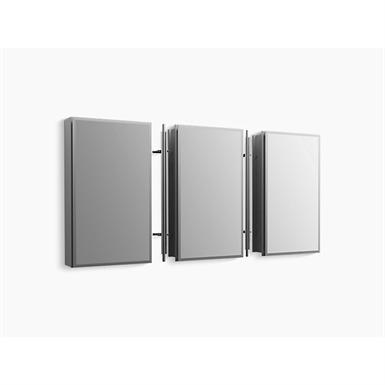 15 inch W x 26 inch H aluminum single-door medicine cabinet with mirrored door, beveled edges