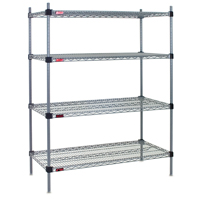 on wire shelves and ckets