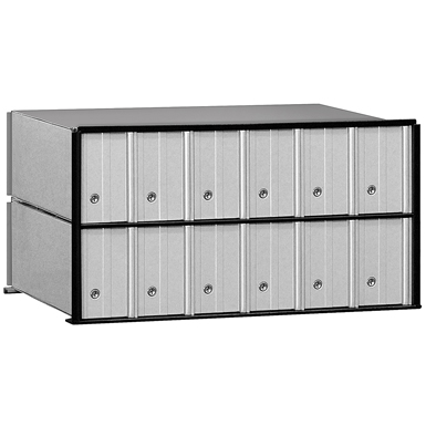 2200 Series Aluminum Mailboxes-Rack Ladder System-2 Unit High Wall Installation