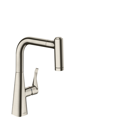 Metris Single lever kitchen mixer 220 with pull-out spray 14834800