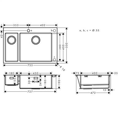 S711-F655 Built-in sink 180/450 43309800