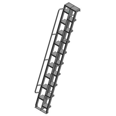 Aluminum Alternating Tread Ladder To Hatch Precision