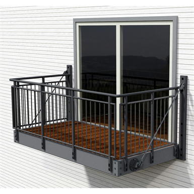 Balcony with gaula steel railing midthaug free bim for Steel balcony