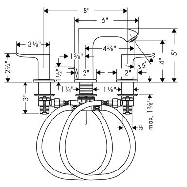 Metris 100 Widespread Faucet 31083001 Hansgrohe Free Bim Object