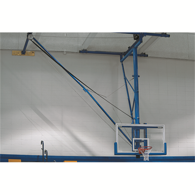 Tbs 26b ceiling suspended side folding basketball backstop for Basketball gym dimensions