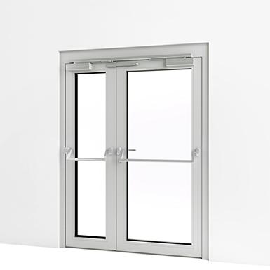 Exterior double door w panic push bar assa abloy be - Commercial aluminum exterior doors ...