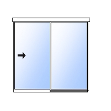 Slim single sliding door with fixed panel - surface mounted