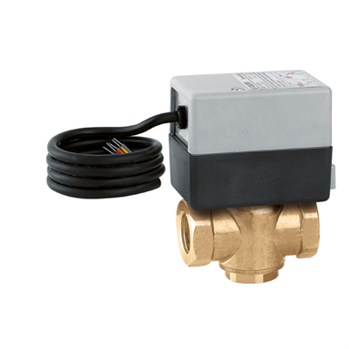 Three-way motorised zone valve. With auxiliary microswitch
