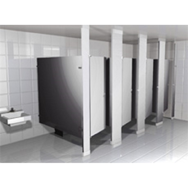 Stainless steel toilet partitions headrail braced hadrian Stainless steel bathroom partitions