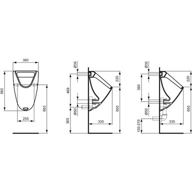 EUROVIT URINAL 360X335MM, BACK INLET (Ideal Standard