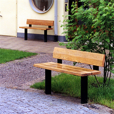 Stadsbänken, backed bench 120 cm