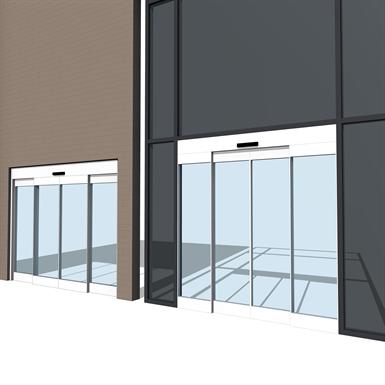 Automatic sliding door all glass esa500 series dormakaba for Puertas corredizas revit