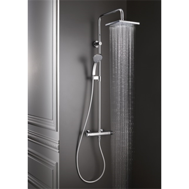 JULY - SHOWER COLUMN WITH THERMOSTATIC MIXER AND SQUARE SHOWERHEAD ...