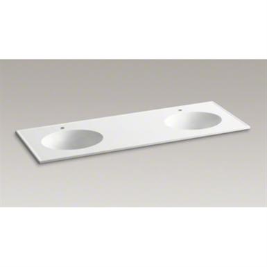 K 2898 1 Ceramic Impressions 61 Quot Oval Double Bowl Vanity