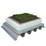 Mono PM 1-layer system for green roofs with a slope ≥3,6° on troughed sheet insulated with mineral wool and expanded polystyrene