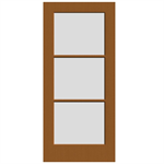 3-Lite Wood French Door - Interior Commercial / Residential with Fire Options - K6030