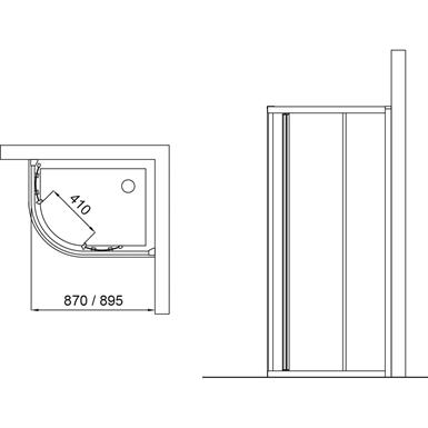 connect cabine de douche verre granit pour receveur 70 x. Black Bedroom Furniture Sets. Home Design Ideas
