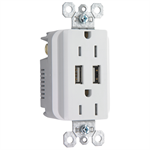 Fed-Spec Grade USB Charger with Tamper-Resistant 20A Duplex Receptacles