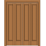 1-Panel Wood Bifold Doors - Interior Residential or Commercial with Fire Options - K1020