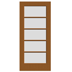 5-Lite Wood French Door - Interior Commercial / Residential with Fire Options - K6050